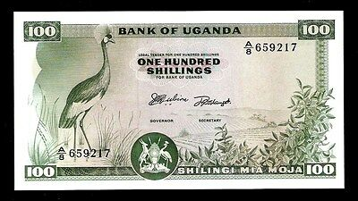 Uganda 100 Shillings 1966 UNC, Water Mark Hand