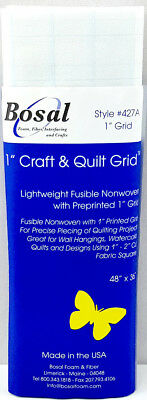 """NEW Bosal 3504-02  Craft and Quilt Light Fusible Non-Woven with 1"""" Grid 120x90cm"""