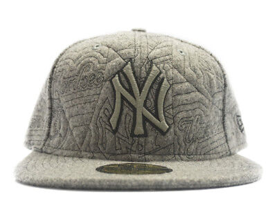 NEW ERA New York YANKEES WOOL GREY MENS FITTED HAT SIZE 7 7/8