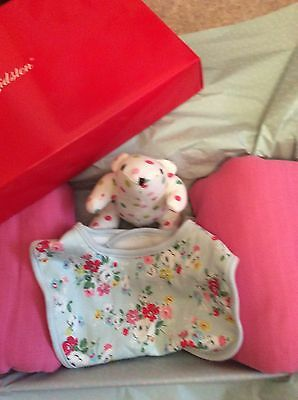 Cath Kidston Gift Set Baby Muslins Toy & Bib With Gift Wrap