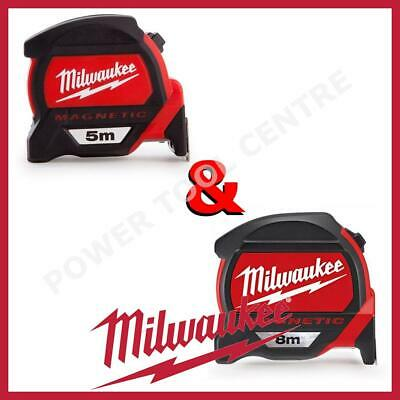 Milwaukee 4932459373 & 4932464177 Premium Durable Magnetic Tape Measure 5m & 8m