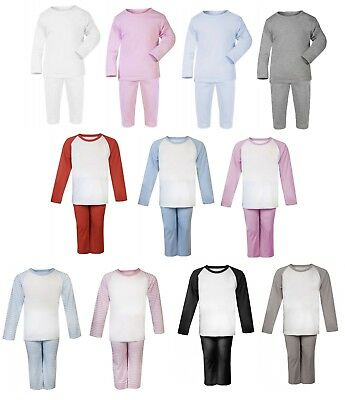 100% Cotton BABY BOY/GIRL TODDLER Plain Coloured Pyjama Set Long Sleeve Footless