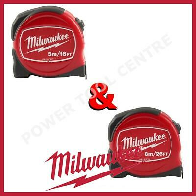 Milwaukee 48227717 + 48227726 Pro Compact Durable Tape Measure 5m/16ft + 8m/26ft