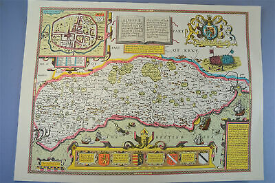 Vintage decorative sheet map of Sussex Chichester town plan John Speede 1610