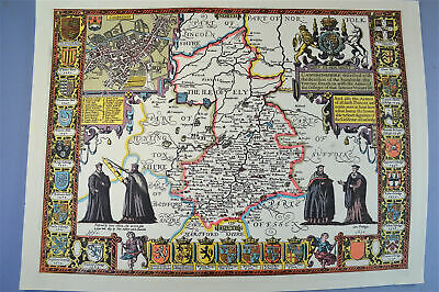 Vintage decorative sheet map of Cambridgeshire Cambridge John Speede 1610