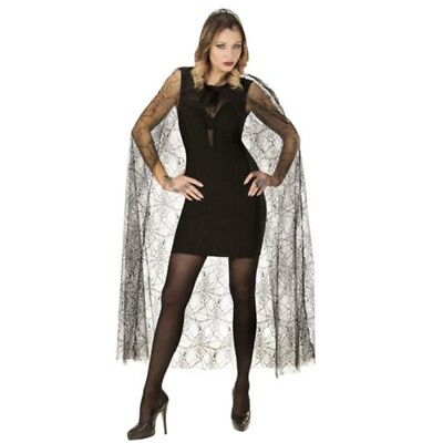 Spidermesh Hooded Cape 140cm - 140 Gothic Witch Halloween Fancy Dress Accessory