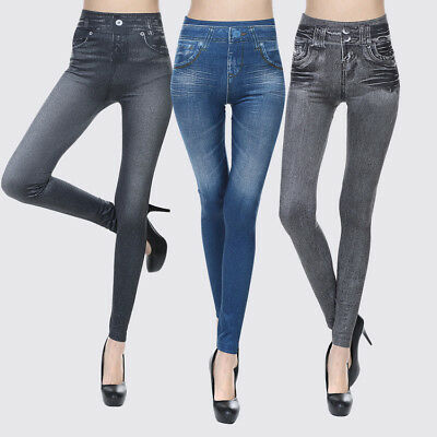 US Womens Denim Jeggings Skinny Tight Long Jeans Stretch Pencil Pants Seamless