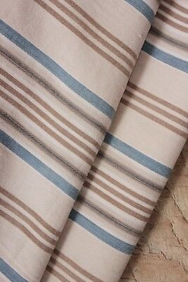 French rare blue brown striped ticking fabric body pillow cover c1900 antique