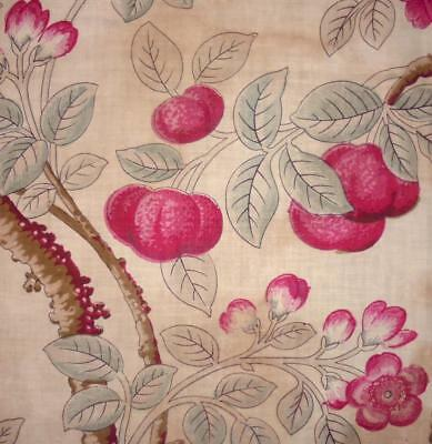 RARE 18th CENTURY BLOCK PRINT FRENCH ARBORESCENT LINEN, c1790 ROSES CHERRY TREES
