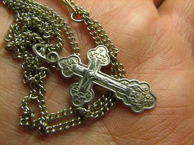 CRUCIFIXION SAVE & PROTECT PRAYER OLD VINTAGE STERLING SILVER CROSS w CHAIN #269