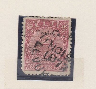 FIJI 20 12c on 6p 1872, nice 1873 cancel, corner fault