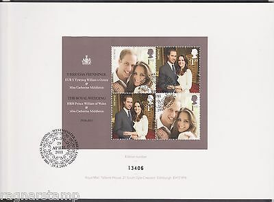 2011 Royal Wedding Presentation folder with FDC and poster