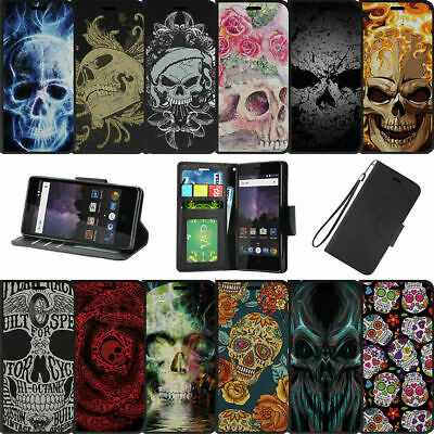 For Alcatel REVVL (T-Mobile) | Alcatel A30 Fierce Wallet Case Wrist Strap Skulls