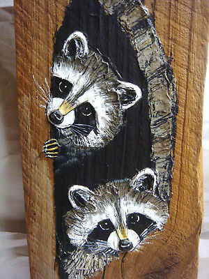 RACCOON PAINTING on Reclaimed BARN SIDING Signed J. Weir