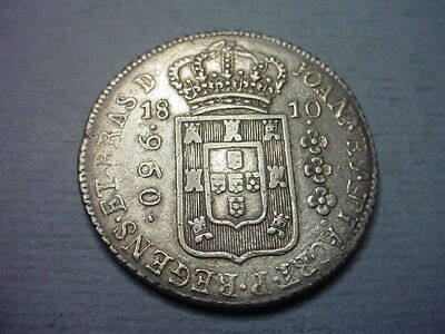 Brazil 960 Reis 1810 Struck on Spanish Colonial 8 Reales