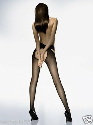 Wolford Individual 12 Stay-Hip Tights No Crotch Color Black Sz Medium 21246 - 12
