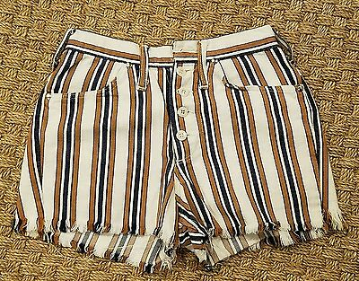 vtg 70s Maverick Blue Bell striped denim DIY cutoffs button fly jean shorts 25