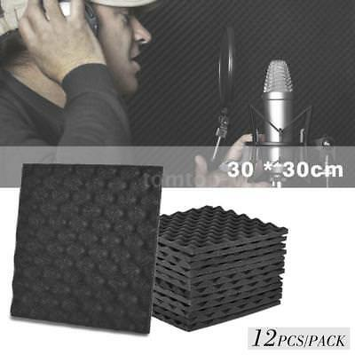 "12 Pack Acoustic Studio Soundproofing Egg Crate Foam Wall Tiles 12"" X 12"" Grey"