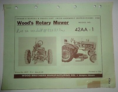WOODS 42AA-1 ROTARY Belly Mower Operators Parts Manual Catalog fits IH  tractors