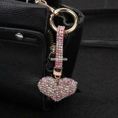 Trendy Crystal Heart Pendant 35mm Key Ring Hanging Ornaments Bag Décor RR6
