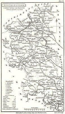 BUCKINGHAMSHIRE: Phillips: Small Copperplate Map. Hundreds Detailed;1808