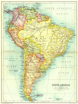 SOUTH AMERICA. Showing railways. Cassells 1909 old antique map plan chart