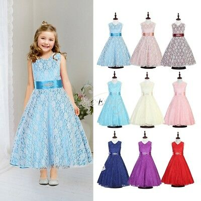 Lace Kids Flower Girl Dress Gown Party Wedding Bridesmaid Pageant Dress UK Stock