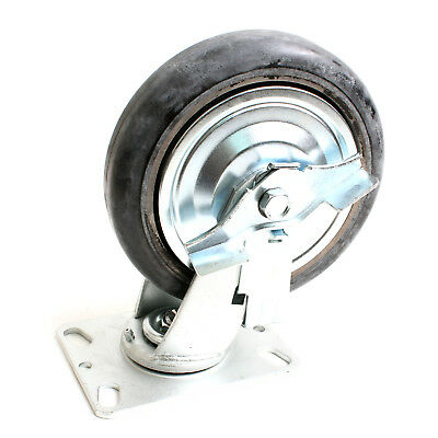 Swivel Plate Caster Rubber with Brake Rubber D200mm Load 230kg