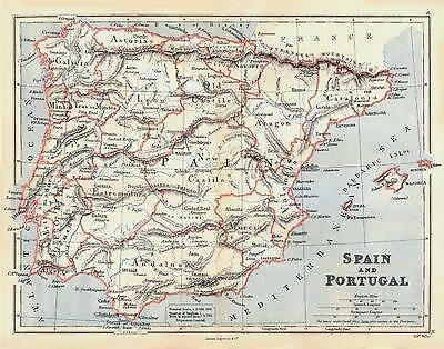 IBERIA: Spain and Portugal showing provinces. BUTLER;1888 map