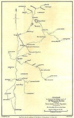 ECUADOR: Diagram showing Whymper's Travels in the Andes. RGS;1881 map