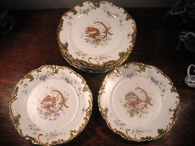 9 Fine Antique 19th C Fine Bone China HP Limoges Lobster Fish Cabinet Plates  8""
