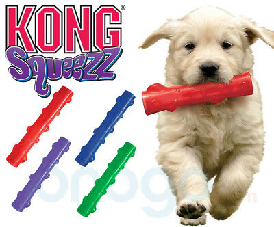 Kong Squeezz Stick Squeaky Dog Puppy Fetch Toss Durable Chew Stick - 2 Sizes