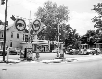 "1950's Service/ Gas Station, Raleigh, NC Vintage Old Photo 8.5"" x 11"" Reprint"