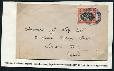 North Borneo 1918 envelope franked 4c SG 164 used from Jesselton to England