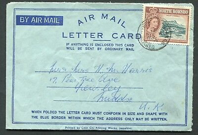 North Borneo 1961 airmail letter card franked 35c used from Sandakan to England