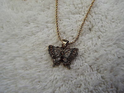 Goldtone Amber Champagne Rhinestone Butterfly Necklace (C78)