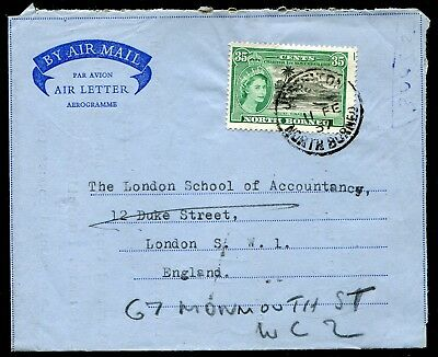 North Borneo 1957 pro forma air letter franked 35c used from Jesselton to London