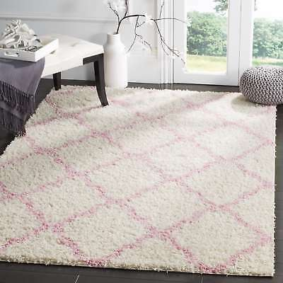 Safavieh Dallas Shag Ivory/ Light Pink Trellis Rug (6' Square)