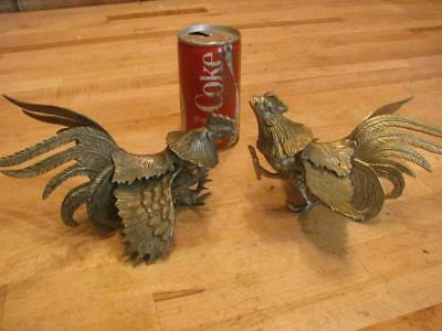 Pair of Vintage Solid Brass Bronze Fighting Rooster Cocks Chickens Figurines