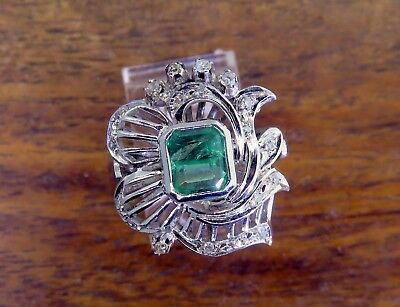 Vintage palladium ART DECO 1920's FILIGREE COLOMBIAN EMERALD & DIAMOND ring