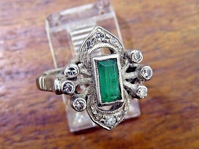 Vintage palladium ANTIQUE ART DECO 1920's 1930's EMERALD DIAMOND COCKTAIL ring