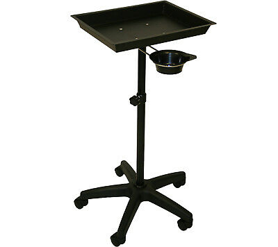 Mobile Black Steel Tray Stand Trolley Removeable Utility Cup Salon Spa Equipment