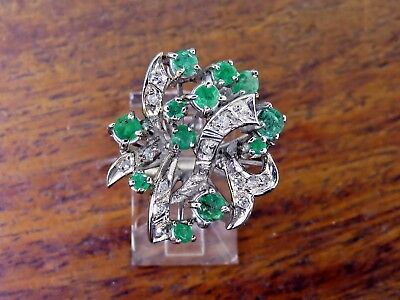 Vintage palladium ART DECO 1920's COLOMBIAN EMERALD & DIAMOND COCKTAIL ring