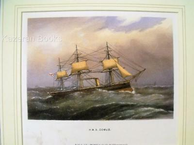 Antique Colour Lithographic Print HMS Comus Victorian Ships Of The Royal Navy