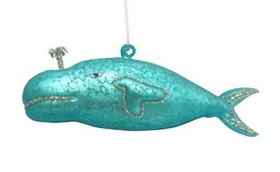 December Diamonds Teal Whale Spouting Water Glass Christmas Ornament 1111138 New