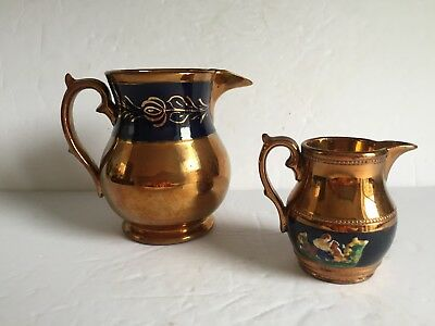 2pc Antique Copper Luster Lusterware Pitchers Jugs Polychrome Raised Decor 19thC