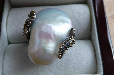 Large White Baroque Pearl & Sapphire 925 Sterling Silver Gold Ring Sz Q 8.5