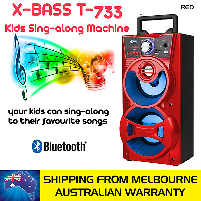 Red Kids Sing-Along Extra Bass Portable Speaker With 1 Microphone, Bluetooth Con