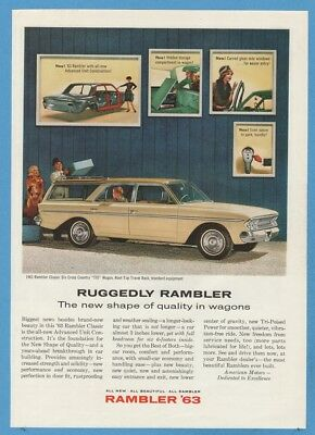 1963 Ruggedly Rambler Classic Six Cross Country 770 Station Wagon 1962 Photo Ad