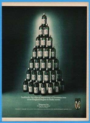 1976 Tanqueray Gin Importing A Christmas Tree From England Stacked Bottle Pic Ad